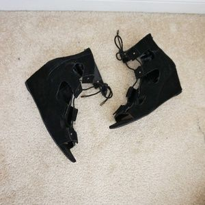 Dolce Vita black suede lace up wedges